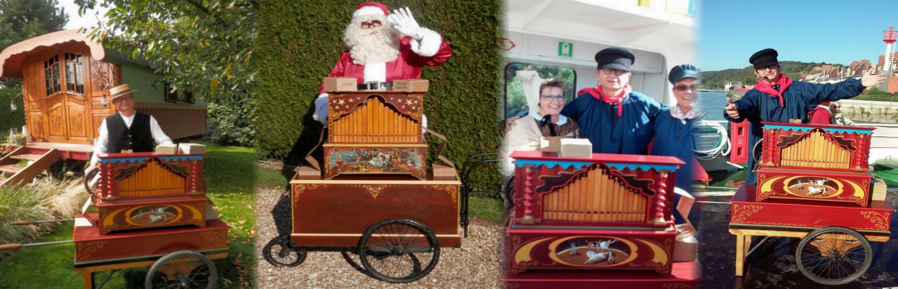 VALENTIN en différentes tenues avec ses orgues de BARBARIE